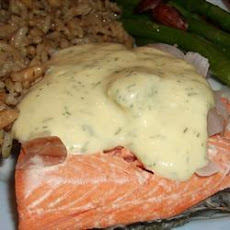 Quick Poached Salmon with Dill Mustard Sauce