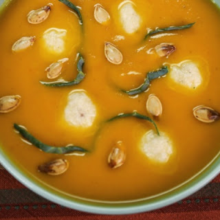 Pumpkin Soup w/ Goat Cheese Gnudi and Toasted Pepitas