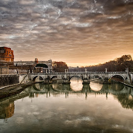 Ponte Sant Angelo  by Darius Chua Xian - Buildings & Architecture Bridges & Suspended Structures ( rome, ponte sant angelo, castle, bridge, italy )
