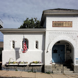 Memorial Hall, sunny day by David Stone - Buildings & Architecture Public & Historical ( architecture, street scene, stucco building, rockport, memorial hall, sidewalk )