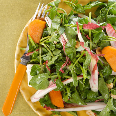 Watercress Salad with Persimmons and Hazelnuts