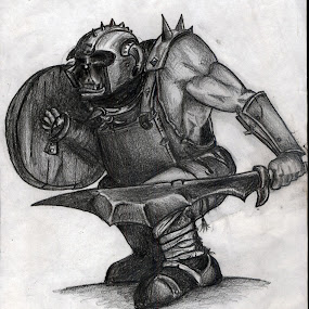 orc by Zeljko Secujski - Drawing All Drawing ( fantasy, epic, warhammer, orc, lord of thr rings, war, valhala )