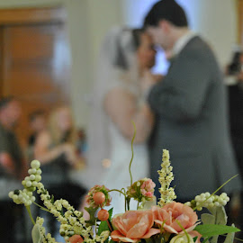 One of my favorites from their first dance, from my seat by Kelly Gamrat - Wedding Bride & Groom ( flower, bouquet )