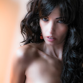 Red by John Shaw - Nudes & Boudoir Artistic Nude ( window, long hair, eyes, earrings )
