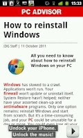 Screenshot of PC Advisor