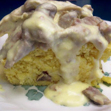 Baked Swiss Cornbread With Turkey Cream Sauce