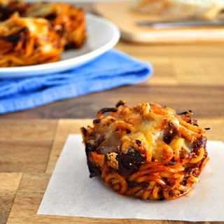 Muffin Tin Spaghetti Nests (Using Leftover Pasta)