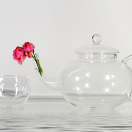 by Dipali S - Artistic Objects Cups, Plates & Utensils ( teapot, cup, rose, utensil, artistic, glass, transparent, flower )