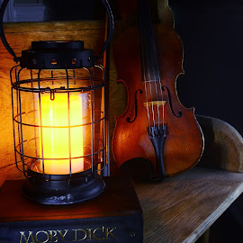 Songs Stories Myths and Legends by Tim Hall - Artistic Objects Still Life ( lantern, candle, violin, candlelight, still life, low light, moby dick, herman melville, fiddle, antiques, existing light )