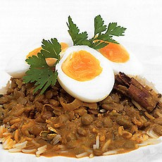 Egg and Lentil Curry with Coconut and Pickled Lime