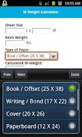Screenshot of Spicers M-Weight Calculator