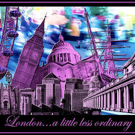 London...a little less ordinary by Lincoln Wallace - Typography Captioned Photos ( creativity, lighting, art, artistic, purple, mood factory, lights, color, fun )
