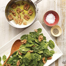 Baby Spinach with Warm Olive Oil and Walnuts