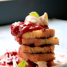 Grilled Pound Cake with Basil-Plum Compote