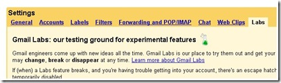 gmail lab setting for snakey game