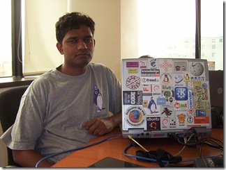 g karunakar with world's most stickered laptop