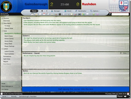 Football Manager 2009 Assistant Manager Feedback