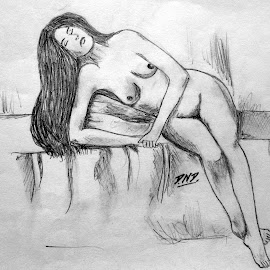 Beautiful Nude Relaxing Girl Sketch!!   by Dhaval Damar - Drawing All Drawing ( pencil, sketch, sexy, girl, nude, woman, beautiful, babe )