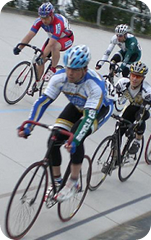 Velodrome bicyclists