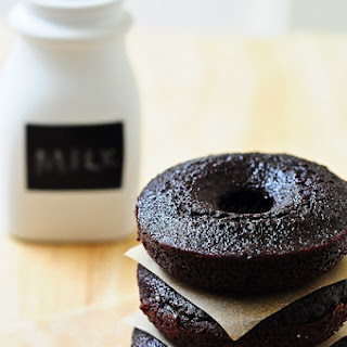 Dark Chocolate Fudge Doughnut Cakes