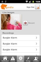 Screenshot of Egardia Alarm System App