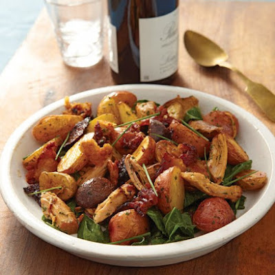Roasted Baby Potatoes with Cracklings and Chives