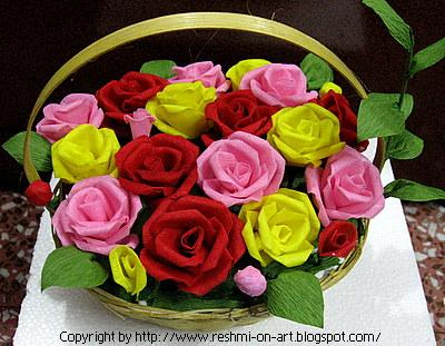 Here is a basket full of beautiful roses. Organdi Flower-Roses beautiful