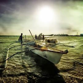 Early Dawn Fishermen by Ferdinand Ludo - Transportation Boats ( boats, bangca, sea, fishing, bantayan island )