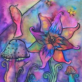 Fantastic Garden by Vanessa Renee - Drawing All Drawing ( bird, flowers, garden, rainbow, drawing, ink, mushrooms )