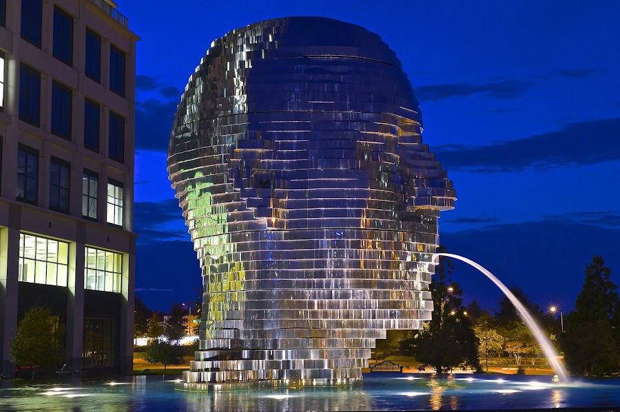 Metalmorphosis by Roy Walter - City,  Street & Park  Fountains ( water fountain, reflection, park, fountains, night, city )