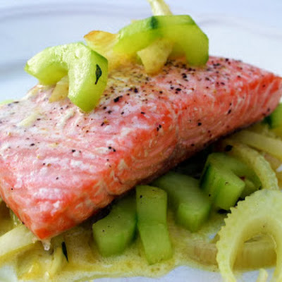 Grilled Salmon With Sauted Cucumber And Fennel