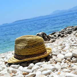 by Wiktoria Kaminska - Novices Only Objects & Still Life ( colour, level, greece, summer, sea, corfu, ocean, beach, hat )