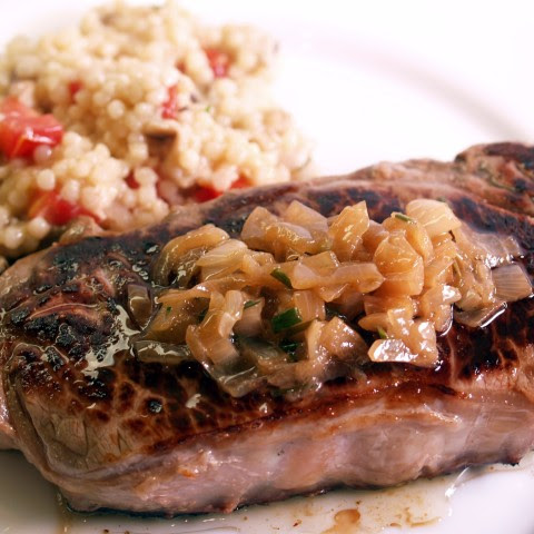 Grilled Steaks With Caramelized Shallot Butter Sauce