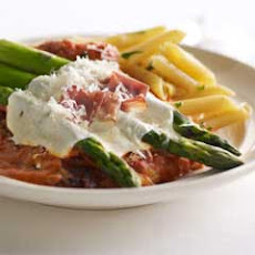 Chicken & Asparagus parmesan In Vodka Sauce
