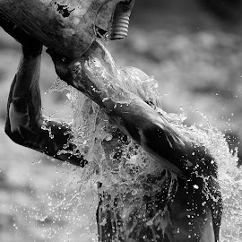 Cold Water On a Hot Day by Inayat Shah - People Street & Candids ( water, pakistan, monochrome, bath, hot, shower )