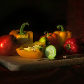 Still life by George Petridis - Food & Drink Fruits & Vegetables ( peppers, soft focus, colorful, colors, still life, low light, classic )