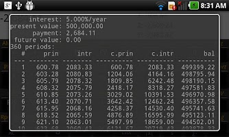 Screenshot of RpnCalc Financial -- HP 12C