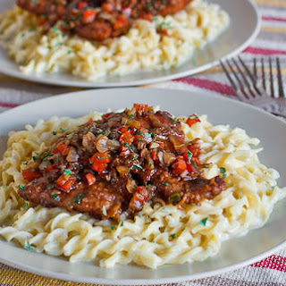 Balsamic Pork Scallopini Over Creamy Noodles