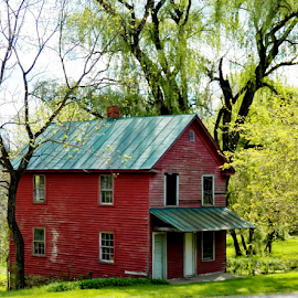 Country Home by Leah Zisserson - Buildings & Architecture Homes ( home, red, virginia, antique, country,  )