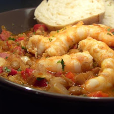 Spanish Prawns With Spicy Lentils
