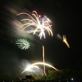 Amelia Celebration by Loren Bradley - Abstract Fire & Fireworks ( atchison, amelia, fireworks, earhart, kansas )