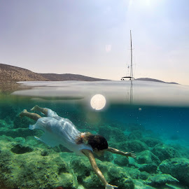 I found a mermaid by Marc-Antoine Kikano - Sports & Fitness Swimming ( water, girl, nature, underwater, greece, sea, sailboat, swimming )
