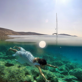 I found a mermaid by Marc-Antoine Kikano - Sports & Fitness Swimming ( water, girl, nature, underwater, greece, sea, sailboat, swimming,  )