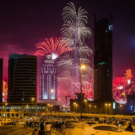 Happy New Year 2015 by S.m. Haque - Buildings & Architecture Other Exteriors ( night photography, dubai, uae, fireworks, long exposure, happy new year 2015, burj khalifa )