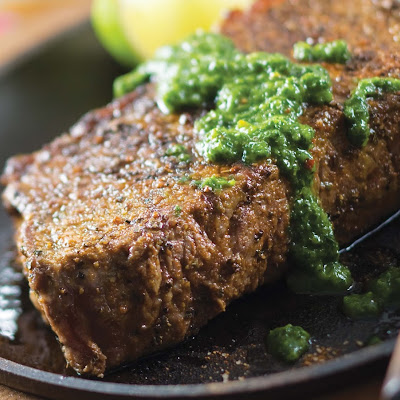 Steak with Three-Herb Chimichurri Sauce