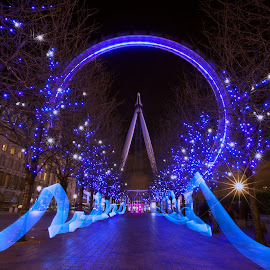 The Blue by Joel Estby - Abstract Light Painting ( lights, london eye, light painting, london, sparkle,  )