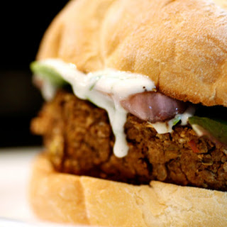 Lentil Walnut Burgers with Yogurt Sauce