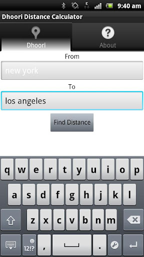 Dhoori Distance Calculator
