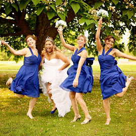 Happy Feet by Darya Morreale - Wedding Groups ( bouquet, bridesmaids, wedding, bride, jump,  )