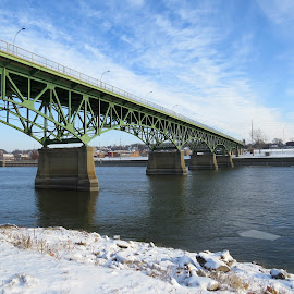 Bridge Over A River by Cindy Cooper Houser - Buildings & Architecture Bridges & Suspended Structures ( water, icy, cold, snow, bridge )